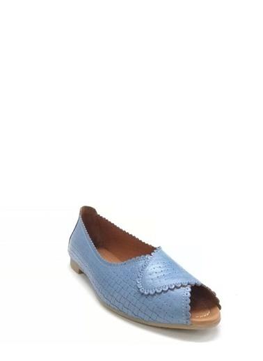 Ballerins Hakiki Deri El Yapımı Mavi Babet Blrs-141 Mavi